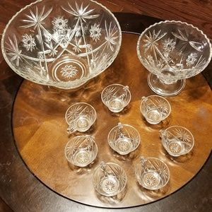 Other - Punch Bowl Set Anchor Hocking Vintage 1950s Clear